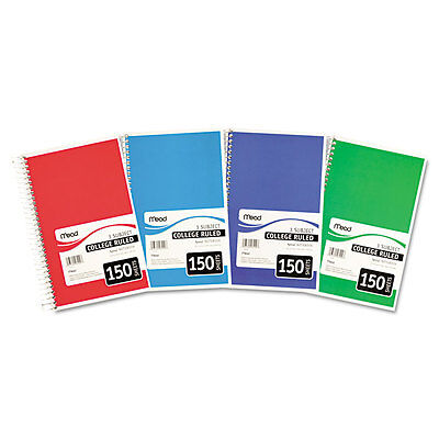 Mead Spiral Bound Notebook College Rule 6 X 9 12 White 3 Subject 150 Sheets