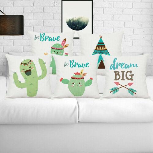 "Home Decor Office Sofa Cushion Square Throw Pillow Cover Case Cactus 18/""x18/"""