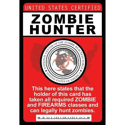 Halloween Costumes Zombie Hunter (Zombie Hunter Badge with Chain  - fun for Halloween Costume of the Walking)