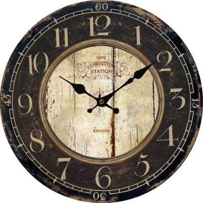 Wall Clock Wood Antique Vintage Battery Operated Big Round Kitchen Bedroom New