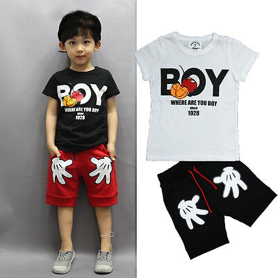 Mickey Mouse 2pcs Kids Baby Boy T-shirt Tops+Shorts Pants Outfit Toddler Clothes - Mickey Mouse Outfit
