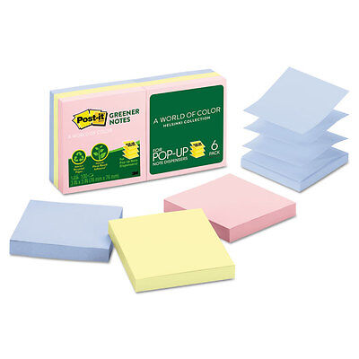 Post-it Recycled Pop-up Notes 3 x 3 Assorted Helsinki Colors 100-Sheet 6/Pack