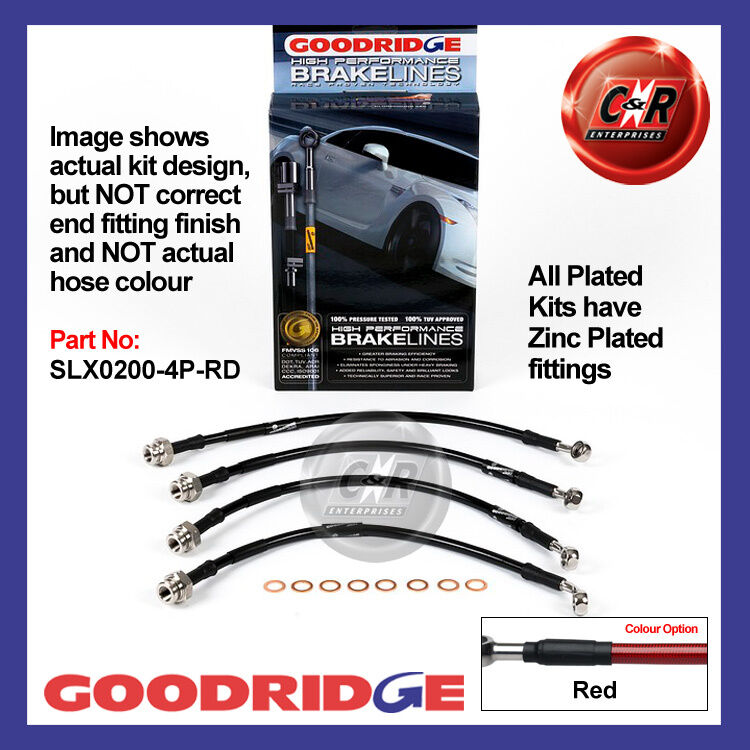 Lexus IS200 99 on Goodridge Zinc Plated Red Brake Hoses SLX0200-4P-RD