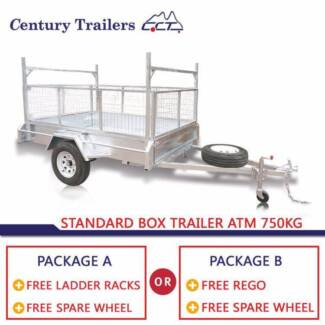 CENTURY TRAILERS - 7x4 Standard Box Trailer ATM 750kg Solid Axle