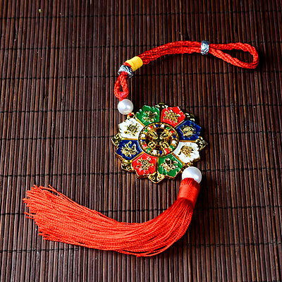 Tibetan Tibet Buddhist  Om Eight Auspicious Symbo Plating Amulet Car Pendant