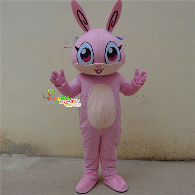 2019 Easter Bunny Mascot Costume Pink Rabbit Fun Cosplay Fancy Outfit Best Gift