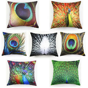 Vintage 45x45cm peacock feather flocking pillow case home decor cushion cover ebay - Peacock feather decorations home decor ...
