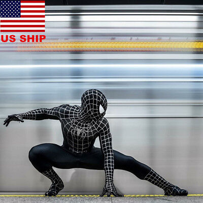 US! Adults Black Venom Spider-Man Muscle Zentai Halloween Cosplay Costume Lycra - Venom Halloween