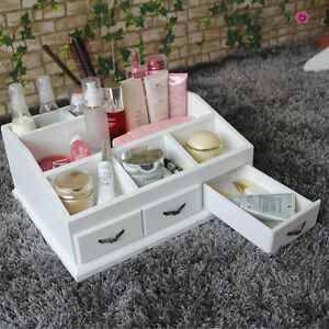 White MakeUp Drawers Wooden Cosmetic Pens Top Desk Table Tidy ...