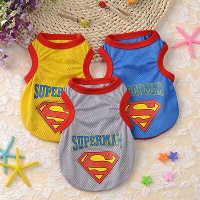 Summer Dog Clothes Mesh Vest Small Pet Cat Shirt Superman Puppy Costume Apparel - Superman Dog