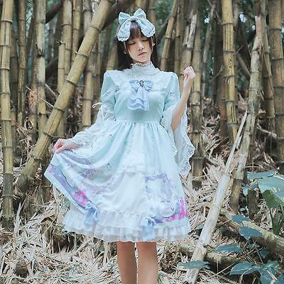 Style One Piece Dress - Women's Lolita Swan Lake Print  Princess Style One-piece Dress 2 Colors  Cute