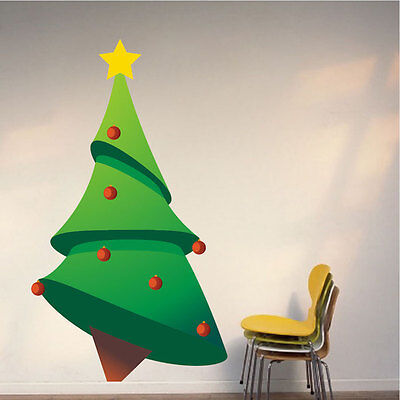 Christmas Tree Wall Decal Winter Wallpaper Seasonal Decorations Vinyl, h32 - Christmas Wallpaper Decorations