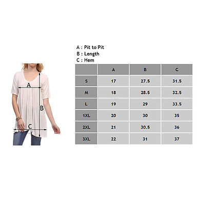 Fashion Women's V-Neck A-Line Tunic Short Sleeve Loose Top Blouse T-Shirt Plus