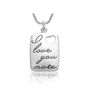 *UK* 925 SILVER PLT 'I LOVE YOU MORE' ENGRAVED NECKLACE HEART GIRLFRIEND GIFT