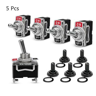 5x Heavy Duty 20a 125v Spst 2 Terminal Onoff Toggle Switch With Waterproof Boot