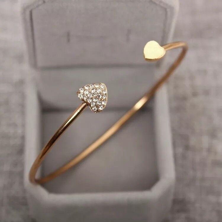 Jewellery - Charm Girl Women Trendy Rhinestone Love Heart Bangle Cuff Bracelet Jewelry UK