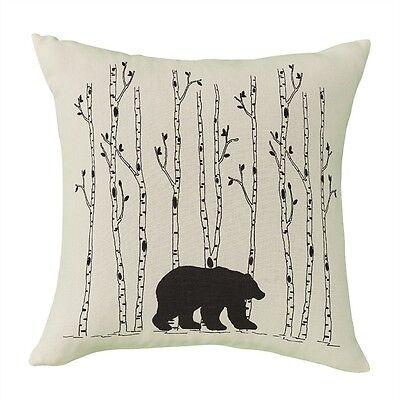 bear birch trees pillow cover