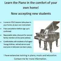 Piano lessons in your home