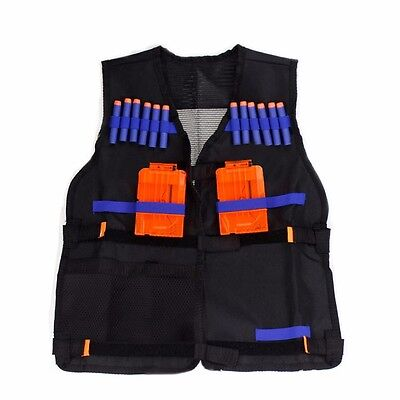 Black Water Nerf Tactical Vest Jacket N-Strike Elite Pistol Toys Bullets Holder