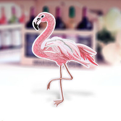 Diy Flamingo Bird Embroidered Sew On Iron On Patch Badge Fabric Applique Craft