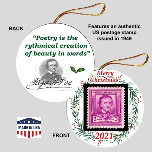 EDGAR ALLAN POE Christmas Ornament - Collectible Gift American Poet Stamp Raven