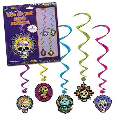 DAY OF THE DEAD WHIRLS HALLOWEEN MEXICAN FIESTA PARTY DECORATIONS SWIRLS SKULLS ()