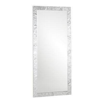 Specchio da parete grande appoggio design foglia argento 85x185 Made in Italy