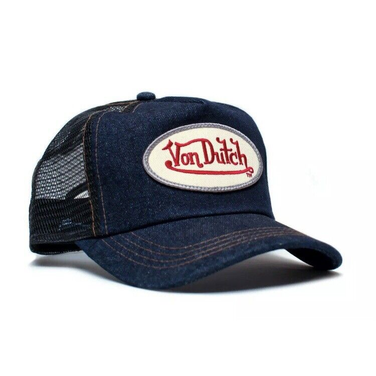 Authentic Brand New Von Dutch Blue Denim Cap Hat Mesh Snapback