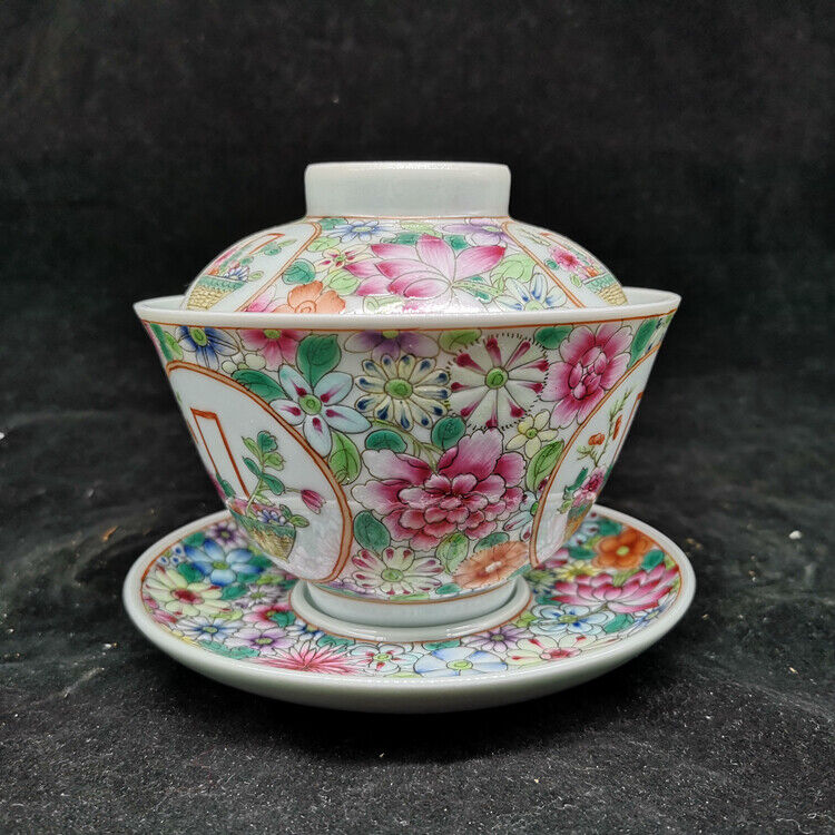 Chinese Exquisite Porcelain Famille-rose Flowers Pattern Tea Cover Teacup Saucer