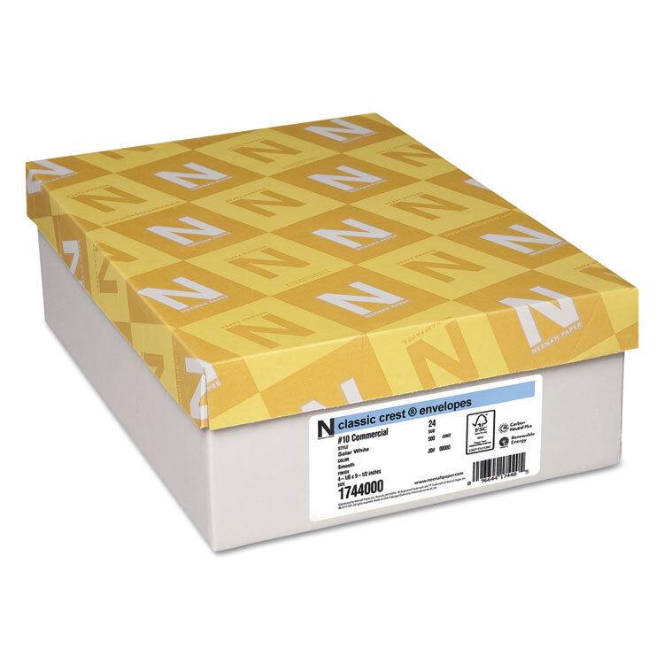 Neenah Paper Classic Crest #10 Envelope Solar White 500/Box 1744000