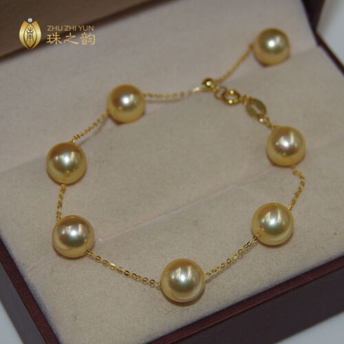 """7.5-8"""" Gorgeous AAA+ 8mm natural south sea golden round pearl bracelet 18k"""