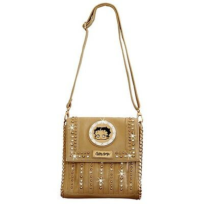 Betty Boop Rhinestone Deep Envelope Bag by Sharon Purse Handbag Beige KF-4010