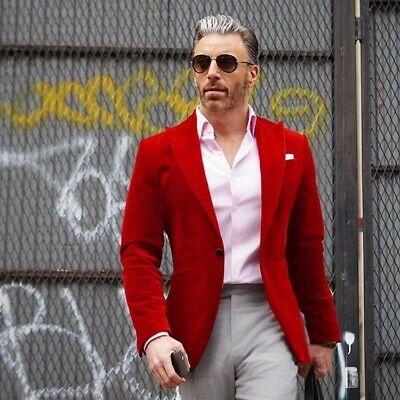 Hombre Rojo Fumar Chaquetas de Diseño Boda Novios Cena Informal Americana