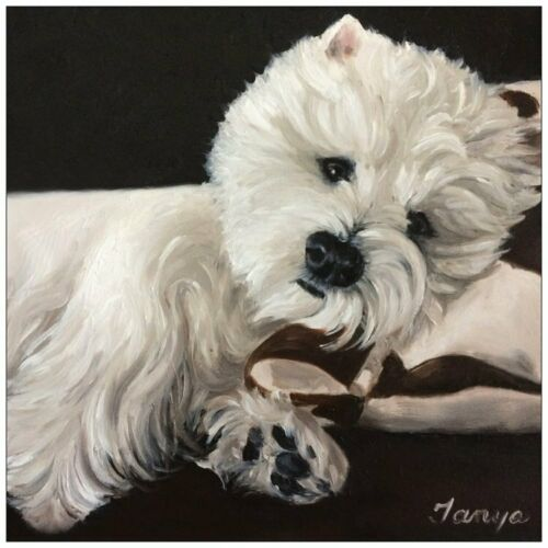 Holiday Christmas Greeting card set Westie from original painting art
