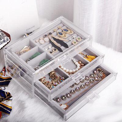Storage Box Jewelry Cosmetic Acrylic Makeup Case Organizer Accessories Decor