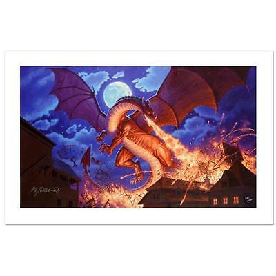 Smaug Destroys Laketown by Greg Hildebrandt Lot 575