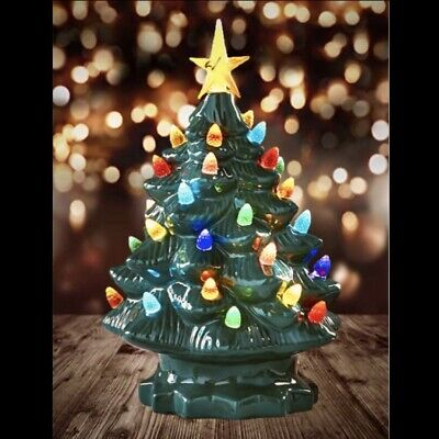 """Vintage Lighted Christmas Tree with Star • 10"""" Rustic/Country/Retro/Nostalgicu"""