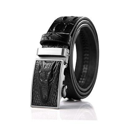 Mens Crocodile Real Leather Vintage Dress Jeans Clothes Automatic Buckle Belt