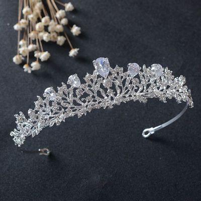 Tiara Cristal Novia Diadema Corona con Perlas Piedras Cabello de Concursos