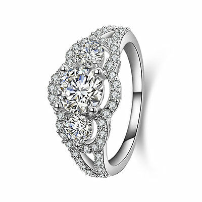 3-Stone 925 STERLING SILVER CZ ENGAGEMENT WEDDING RING WOMEN'S SIZE 3-12 SS18 ()