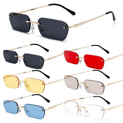 Fashion Kleine Linse Sonnenbrille Herren Damen Rahmenlos Schmale Rechteck Brille