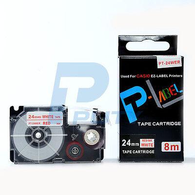 Compatible Casio Xr-24wer Red On White Label Tape 24mm 8m 1 X 26 Xr-24wer1