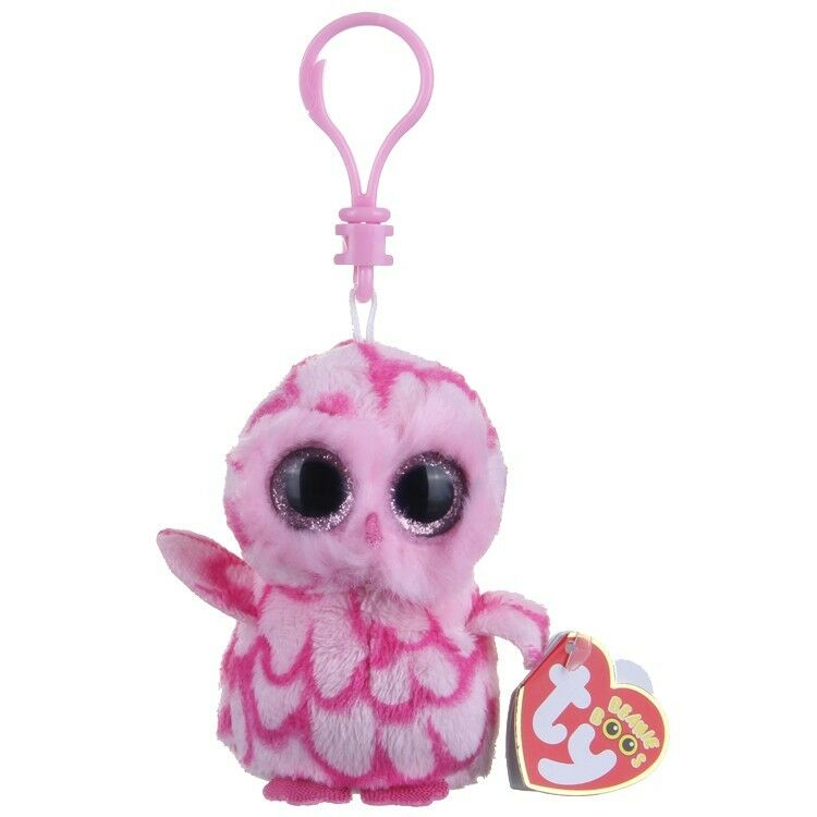 Ty beanie boos pinky-pink owl clip 36594