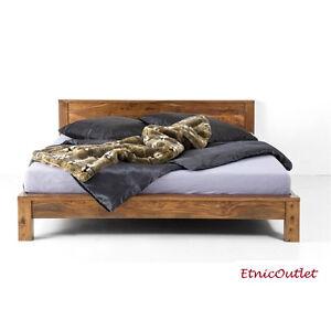 Letto etnico matrimoniale in legno massello naturale con - Letto matrimoniale legno naturale ...