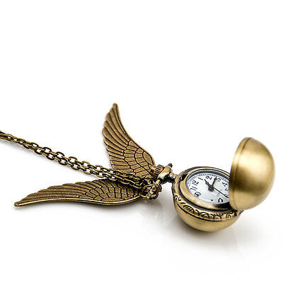 Necklace Clock Pendant (Harry Potter Snitch Pocket Watch Pendant Necklace Steampunk Wing)