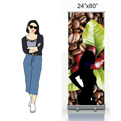 24x80 Standard Retractable Roll Up Banner Stand Pull Up Display Stand Only