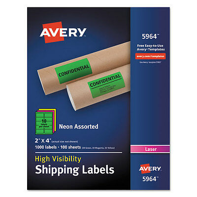 Avery Neon Shipping Label Laser 2 X 4 Neon Assorted 1000box 5964