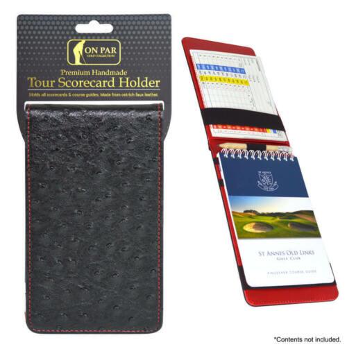 On Par Ostrich Scorecard Holder - Golf Scorecard Black White Grey Green Yellow