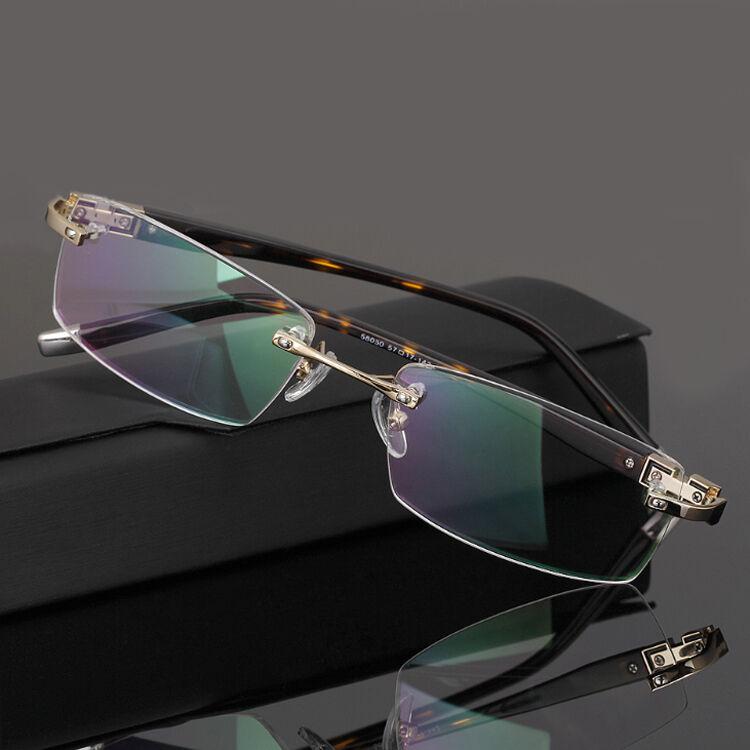 Men's Rimless Eyeglass Frames Metal Spectacle Frame Glasses
