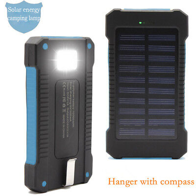20000Mah Solar Pannel Charger Power Bank Usb Charger Led Light Camp Compass